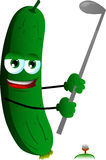 Cucumber or pickle swinging his golf club Stock Photos