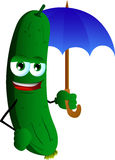 Cucumber or pickle with umbrella Stock Photography