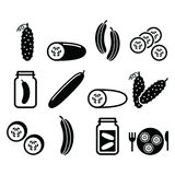Cucumber, pickled, cucumber slices - food  icons set Royalty Free Stock Photography