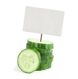 Cucumber with price tag Stock Photo