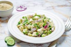 Cucumber quinoa Feta salad stock photography