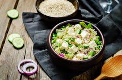 Cucumber quinoa Feta salad royalty free stock photos