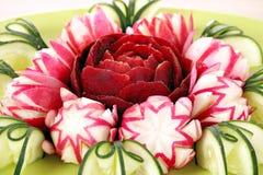 Cucumber radish and beet decorated salad like flower Royalty Free Stock Photos