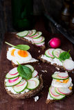 Cucumber, radish and egg toasts. Radish, cucumber, spinach, boiled egg and goat cheese snack toasts on wooden cutting board. Closeup view Stock Photography