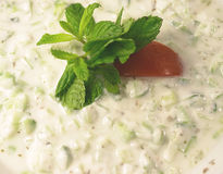 Cucumber raita 1. Cucumber raita dip - yoghourt and cucumber, topped off with mint and tomato. A traditional Arab mezze Royalty Free Stock Photo