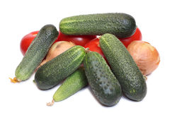 Cucumber and red tomatos Royalty Free Stock Photography