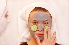 Cucumber relax mask stock images