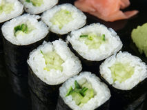 Cucumber Roll. With ginger.  Vegetarian Japanese food Stock Image