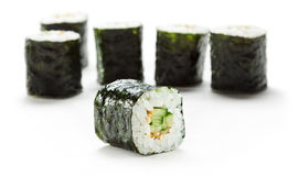Cucumber Roll. Kappamaki - Cucumber Sushi Roll. Isolated over White stock photo