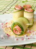Cucumber rolls with pate Stock Photo