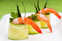 Cucumber rolls with shrimp. For party Stock Image