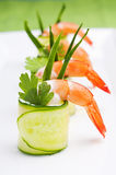 Cucumber rolls with shrimp. For party Stock Images
