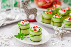 Cucumber Rolls Stuffed with Feta, Herbs, Capsicum and Black Olives stock photography