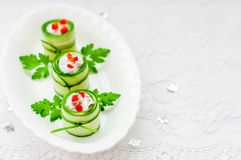 Cucumber Rolls Stuffed with Feta, Herbs, Capsicum and Black Oliv Royalty Free Stock Photos