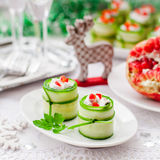 Cucumber Rolls Stuffed with Feta, Herbs, Capsicum and Black Olives stock images