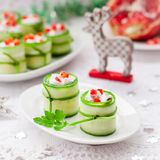 Cucumber Rolls Stuffed with Feta, Herbs, Capsicum and Black Oliv Stock Image