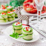 Cucumber Rolls Stuffed with Feta, Herbs, Capsicum and Black Olives royalty free stock images