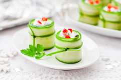 Cucumber Rolls Stuffed With Feta, Herbs, Capsicum And Black Olives Royalty Free Stock Image