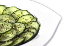 Cucumber Salad. Delicious looking cucumber salad in a white plate Stock Images
