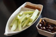 Cucumber salad and braised peanut Stock Images