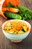Cucumber salad with carrot in bowl Stock Images