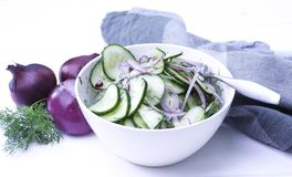 Cucumber salad. With red onions royalty free stock photography