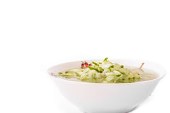 Cucumber salad. Detail of Cucumber salad with watering dressing in bowl Stock Photos