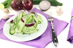 Cucumber salad with dill and garlic flower Stock Photography