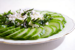 Cucumber salad with feta cheese Royalty Free Stock Photo