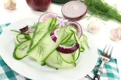 Cucumber salad with garlic flower Royalty Free Stock Photo