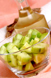 cucumber salad in a glass bowl Stock Photo