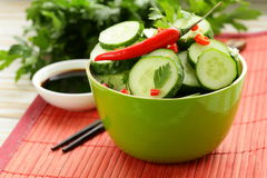 Cucumber salad with red chili pepper and cilantro Royalty Free Stock Photo
