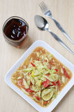 Cucumber salad of somtum in Thai food. Cucumber salad of somtum in Thai food and spicy Royalty Free Stock Photography