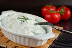 Cucumber salad with sour cream Royalty Free Stock Photo