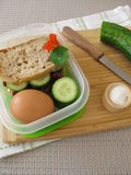 Cucumber sandwich in lunch box Royalty Free Stock Photo
