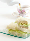 Cucumber sandwiches with tea Royalty Free Stock Photography