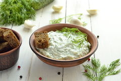 Cucumber sauce with yogurt, garlic, dill tzatziki Stock Photo