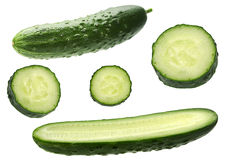 Cucumber set on white Stock Photo
