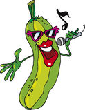 Cucumber singing. Illustration of funny cucumber singing Stock Images