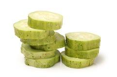 Cucumber slice. Fresh cucumber slice isolated on white background Royalty Free Stock Photos
