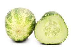 Cucumber and slice. Isolated on a white background Stock Photos