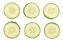 Cucumber. Sliced cucumber path isolated on white royalty free stock image