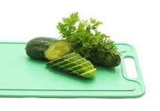 Cucumber sliced on the cutting board. Stock Photo