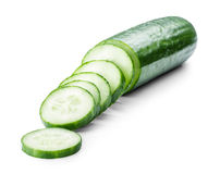 Cucumber sliced isolated on white Stock Photo