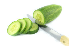 Cucumber sliced Knife Royalty Free Stock Photo