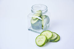 Cucumber sliced on white background Royalty Free Stock Images