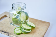 Cucumber sliced on white background Stock Images
