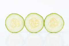 Cucumber slices. Three cucumber slices  on white background Stock Images