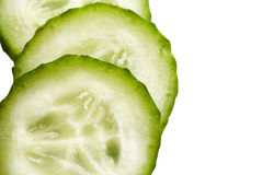 Cucumber Slices. Juicy, fresh cucumber slices on white background stock photography