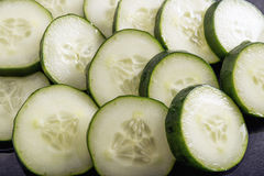 Cucumber slices healthy food. Fresh cucumber slices detoxifying food Royalty Free Stock Photos